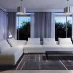 Livingroom interior(focus on sofa) 3d render