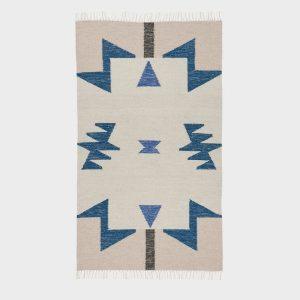 kilimas Kelim Rug - Blue Triangles - Small
