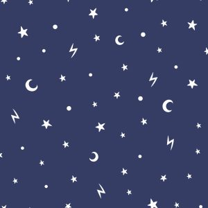 TAPETAI, OVER THE RAINBOW, STARS AND MOONS BLUE, 90982, GLOW IN THE DARK