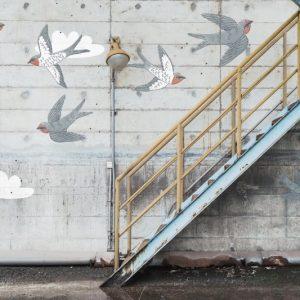 Foto tapetai Rebelwalls, Play, Stairway Graffiti, Swallow, R16962